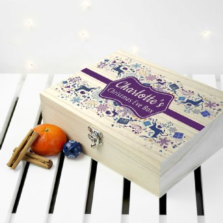 Personalised Wooden Blue & Purple Christmas Eve Box - Small